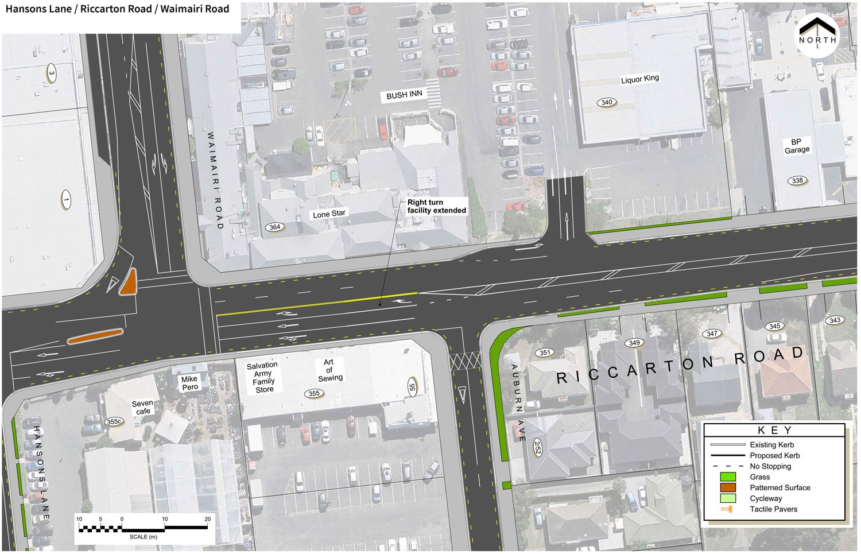 Hansons Lane / Riccarton Road / Waimairi Road