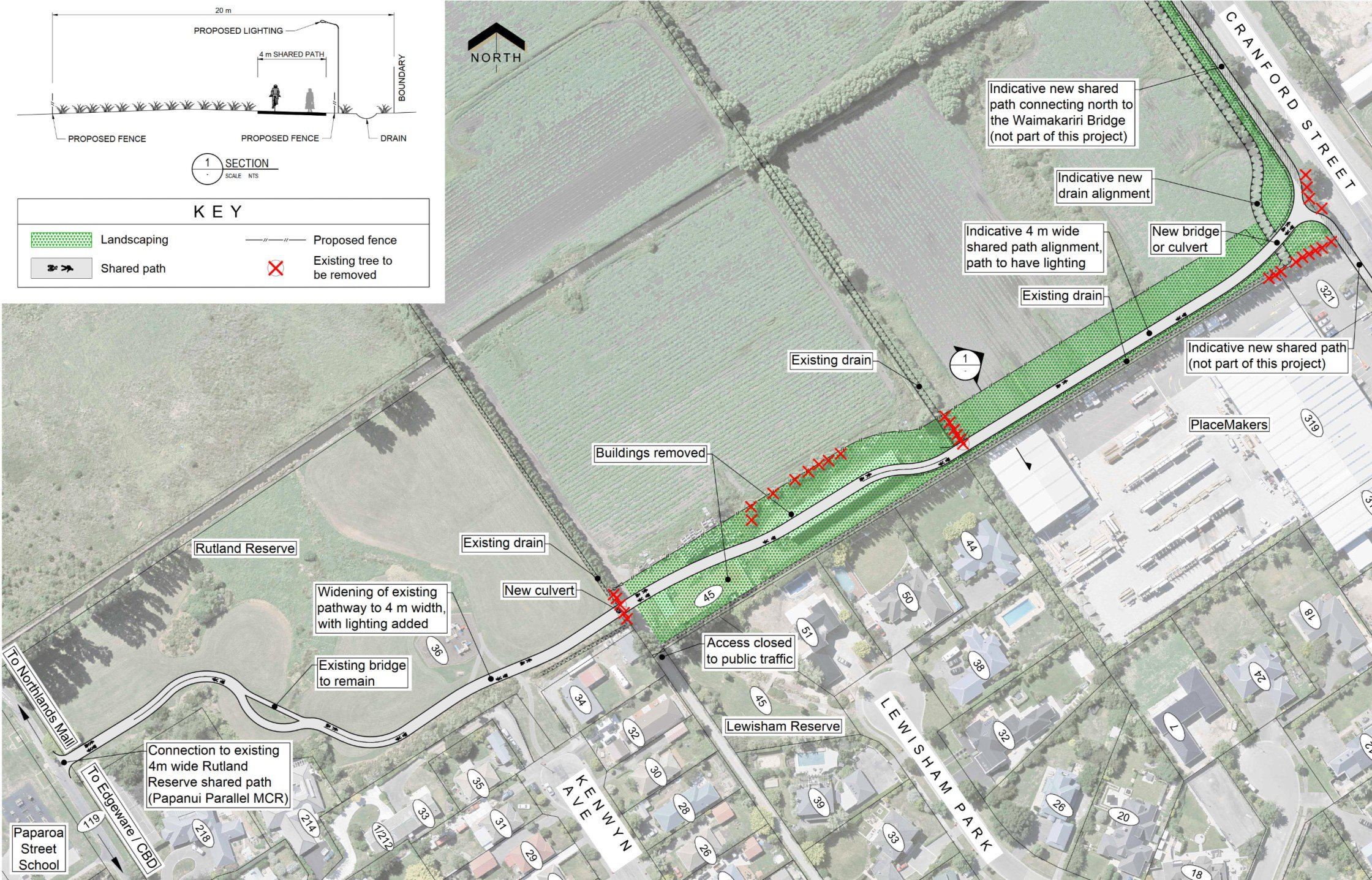 CNC cycleway connection to Papanui Parallel