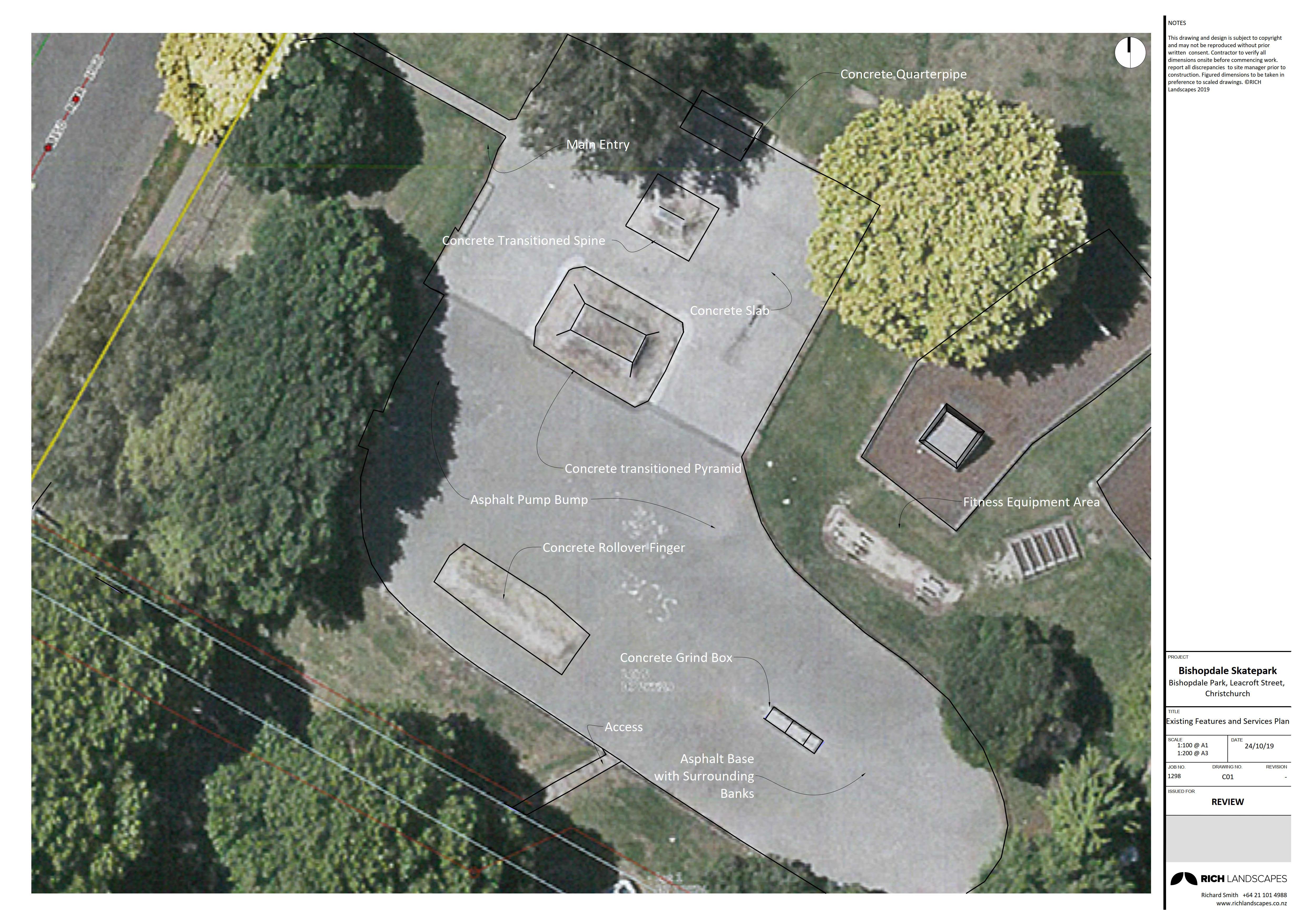 2D plans - Current skate park layout