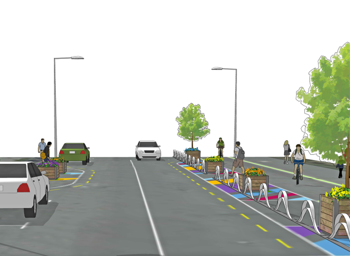 Artist impression of Ferry Road towards Fitzgerald Avenue