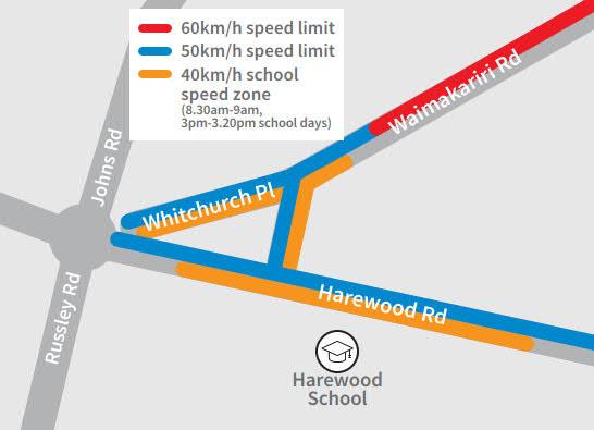 Harewood School Speed Zone map