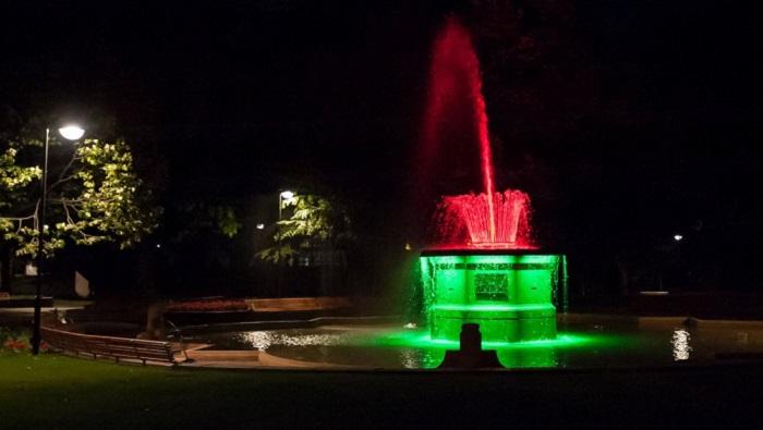 'Bowker Fountain in Victoria Square at night