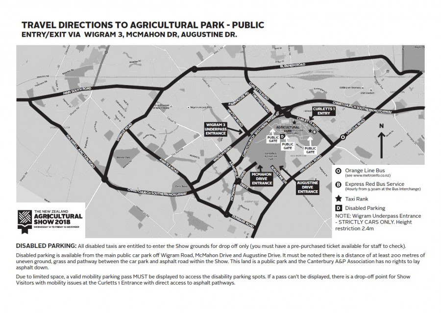The New Zealand Agricultural Show Public Parking Map